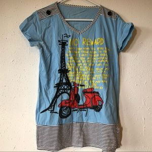 Tops - 🔴Blue Motorcycle Eiffel Tower Tee Shirt V-Neck M